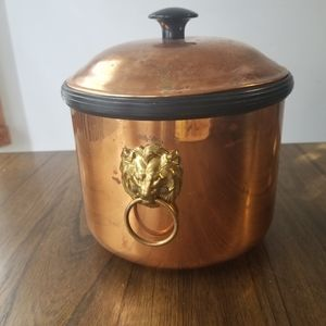 Vintage copper lion handle ice bucket